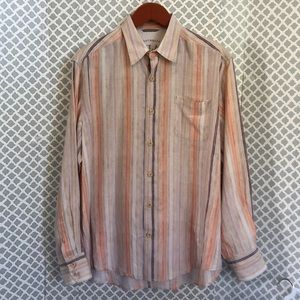 Tommy Bahama Relax coral peach striped linen